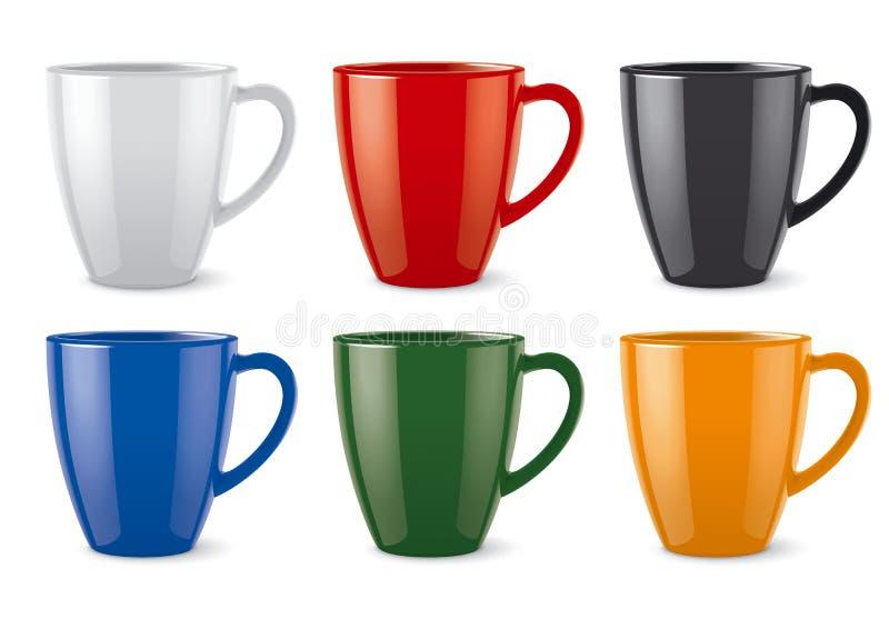 Лоснистые покрашенные чашки иллюстрация штока