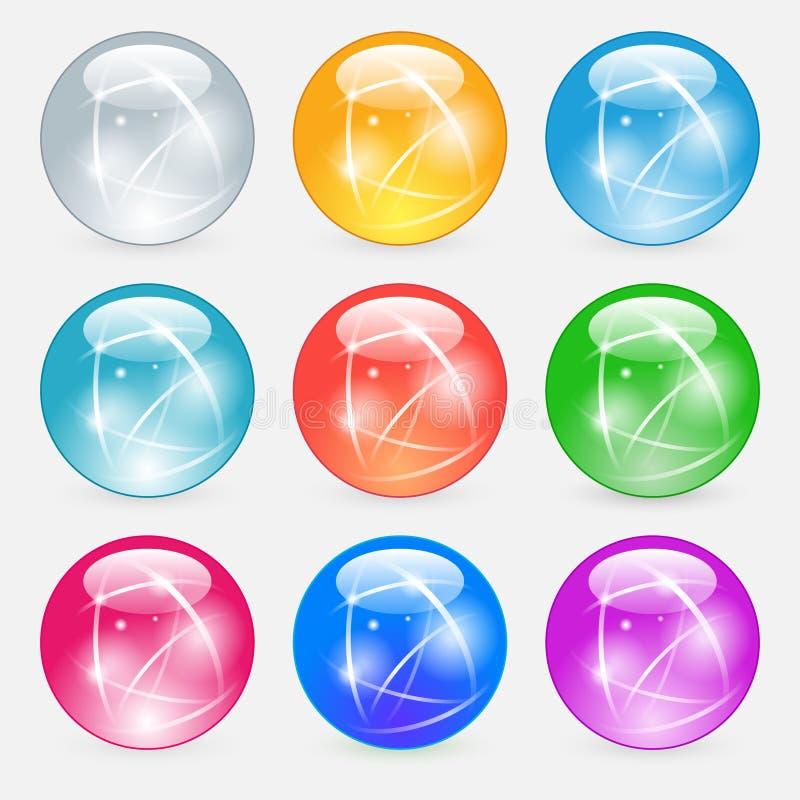 Лоснистые стеклянные кнопки для значков вебсайта бесплатная иллюстрация