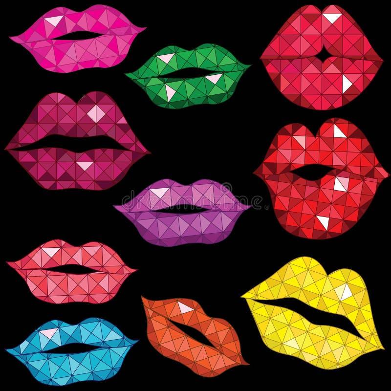 лоснистые установленные губы поцелуя нежыми иллюстрация вектора