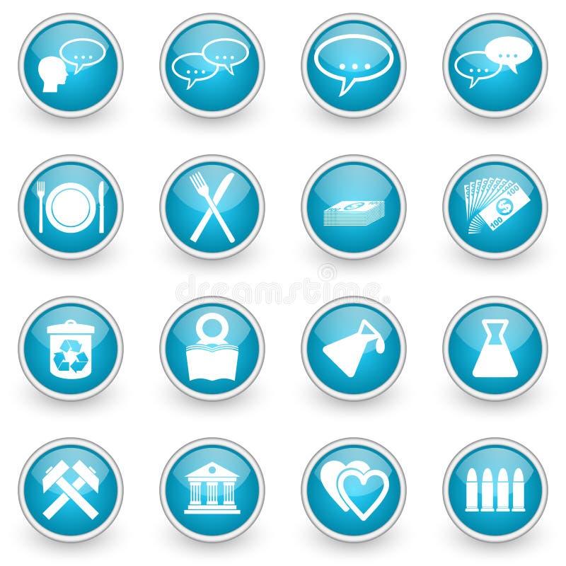 Лоснистые установленные значки сети круга бесплатная иллюстрация