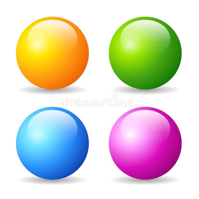Лоснистые установленные шарики иллюстрация вектора