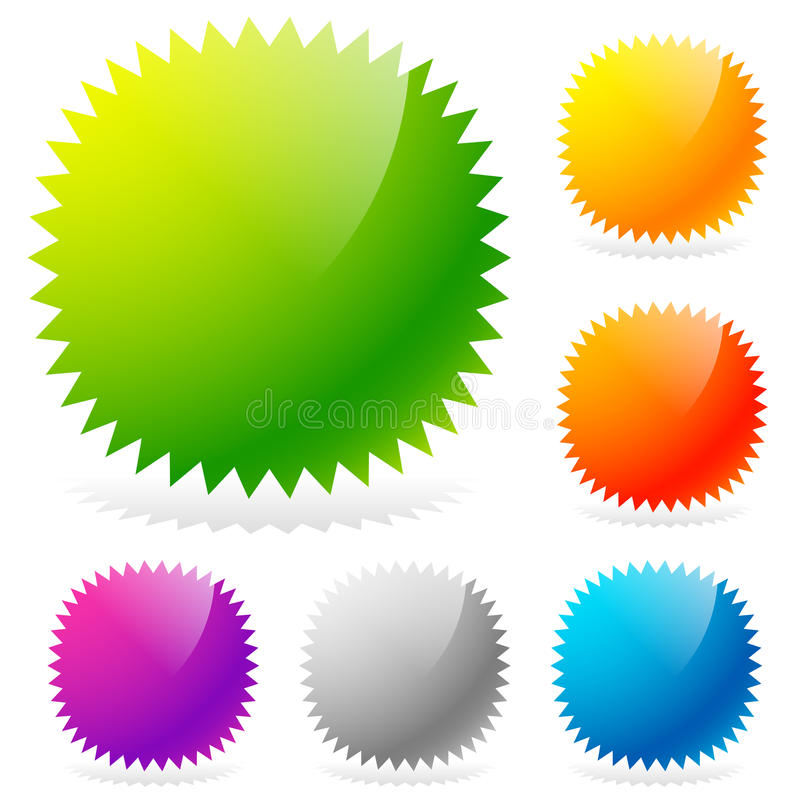 Лоснистые элементы дизайна starburst/sunburst в 6 цветах иллюстрация вектора