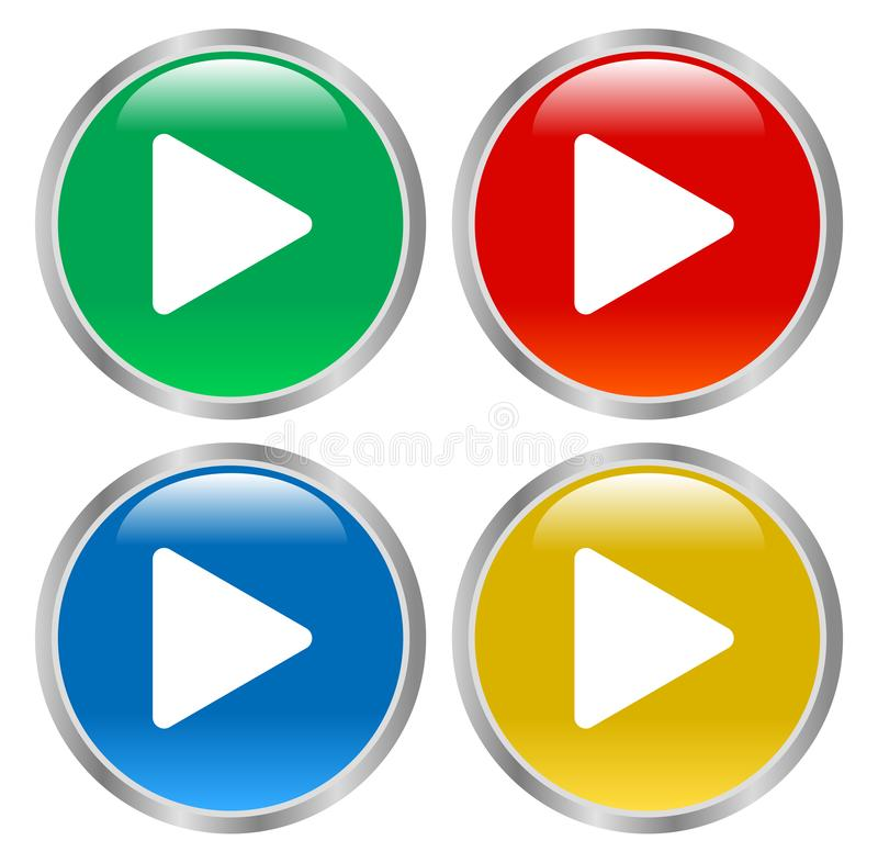 Лоснистый вектор eps иллюстрации кнопок игры иллюстрация вектора