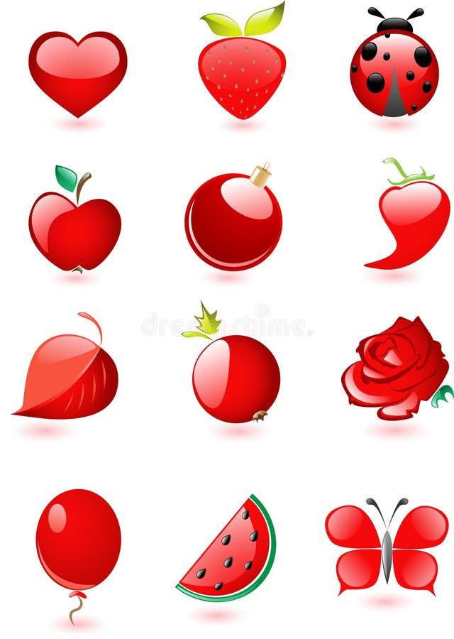 лоснистый комплект красного цвета иконы иллюстрация штока
