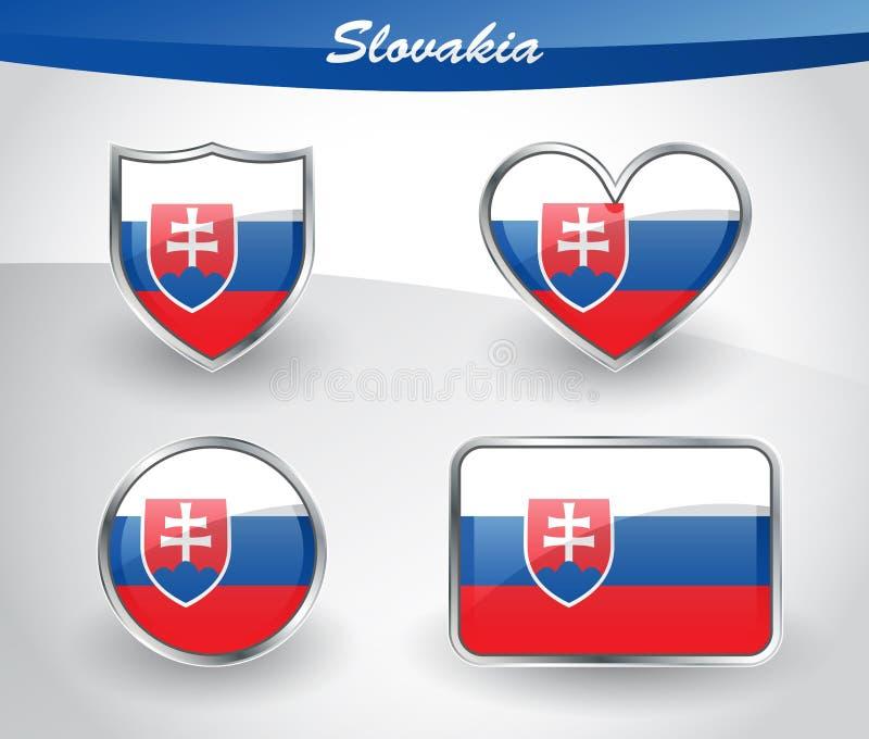 Лоснистый комплект значка флага Словакии иллюстрация вектора