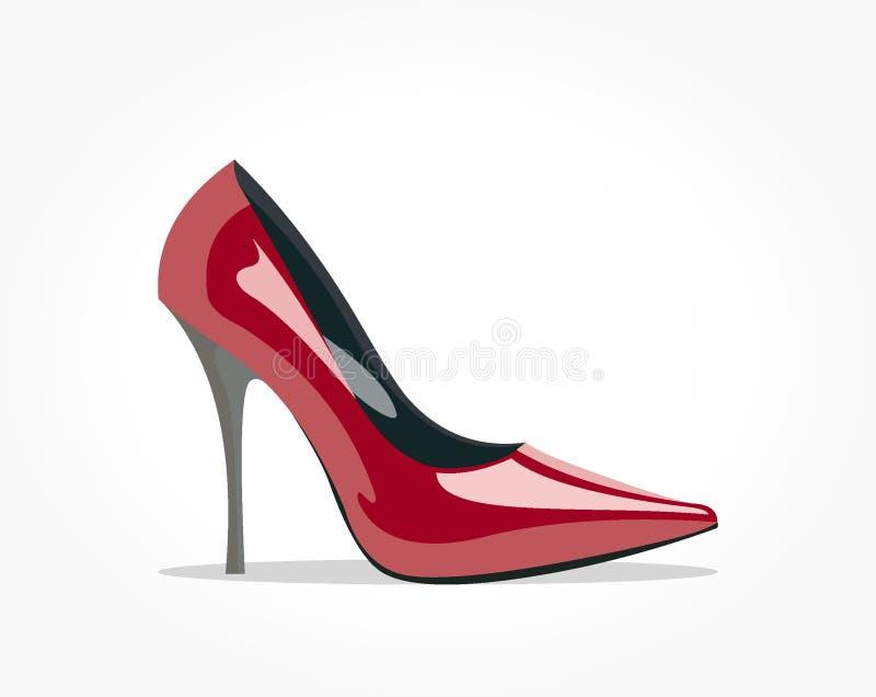 Лоснистый красный ботинок женщин с высокой пяткой иллюстрация штока