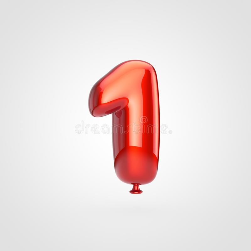 Лоснистый красный воздушный шар 1 изолированный на белой предпосылке иллюстрация штока