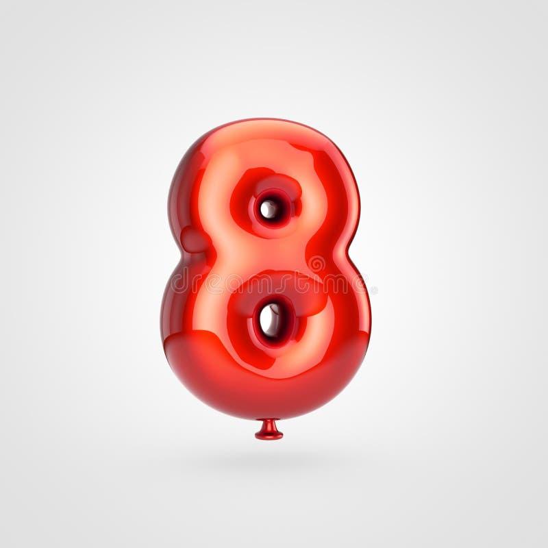 Лоснистый красный воздушный шар 8 изолированный на белой предпосылке иллюстрация вектора