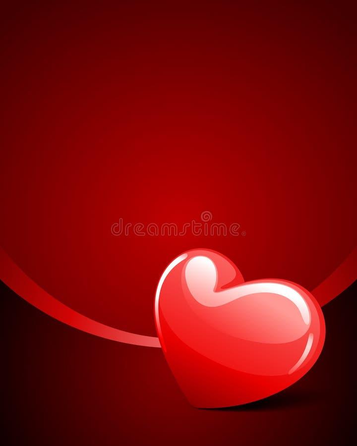 лоснистый красный цвет перспективы сердца иллюстрация штока