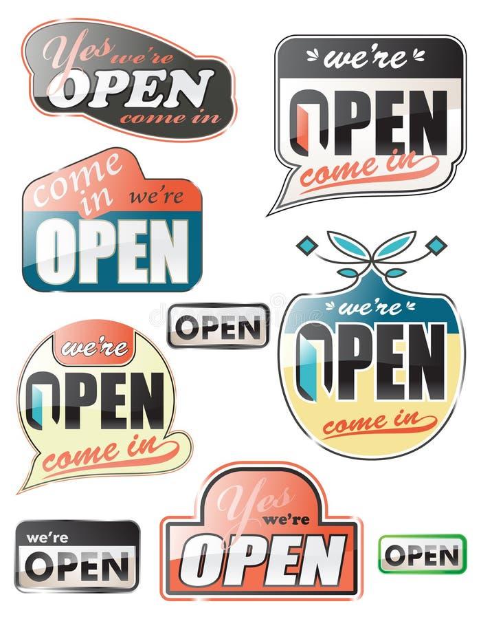 лоснистый открытый магазин знаков стоковые изображения