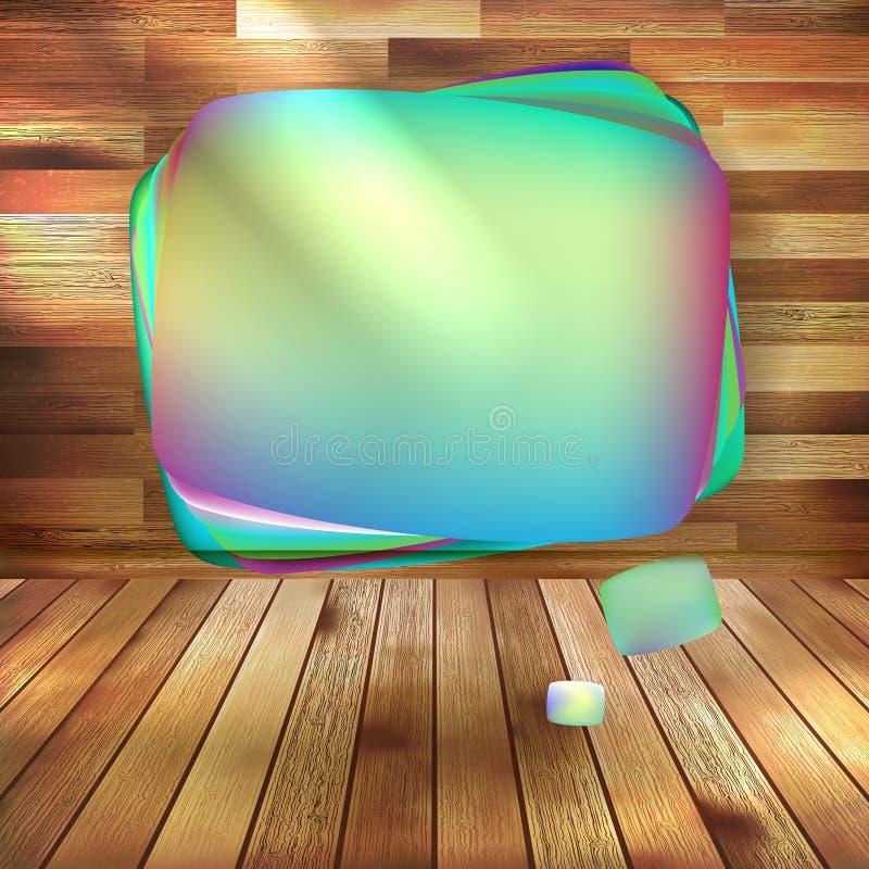 Лоснистый пузырь речи на древесине. EPS 10 иллюстрация штока
