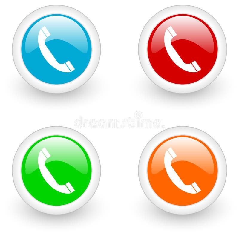 лоснистый телефон иконы иллюстрация вектора