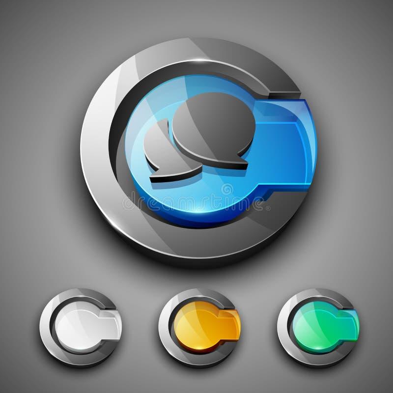 Лоснистый 3D комплект иконы символа посыльного сети 2.0. иллюстрация штока