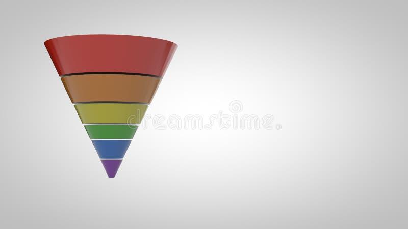 Лоснист-простое воронки Marketing-6 преобразования Шаг-красочное иллюстрация штока