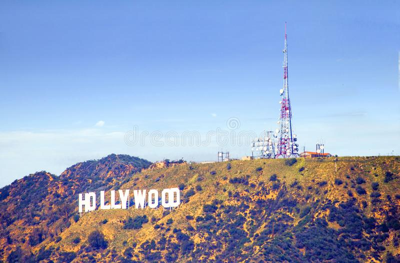 Лос-Анджелес, США, знак Голливуда на Hollywood Hills стоковые фотографии rf