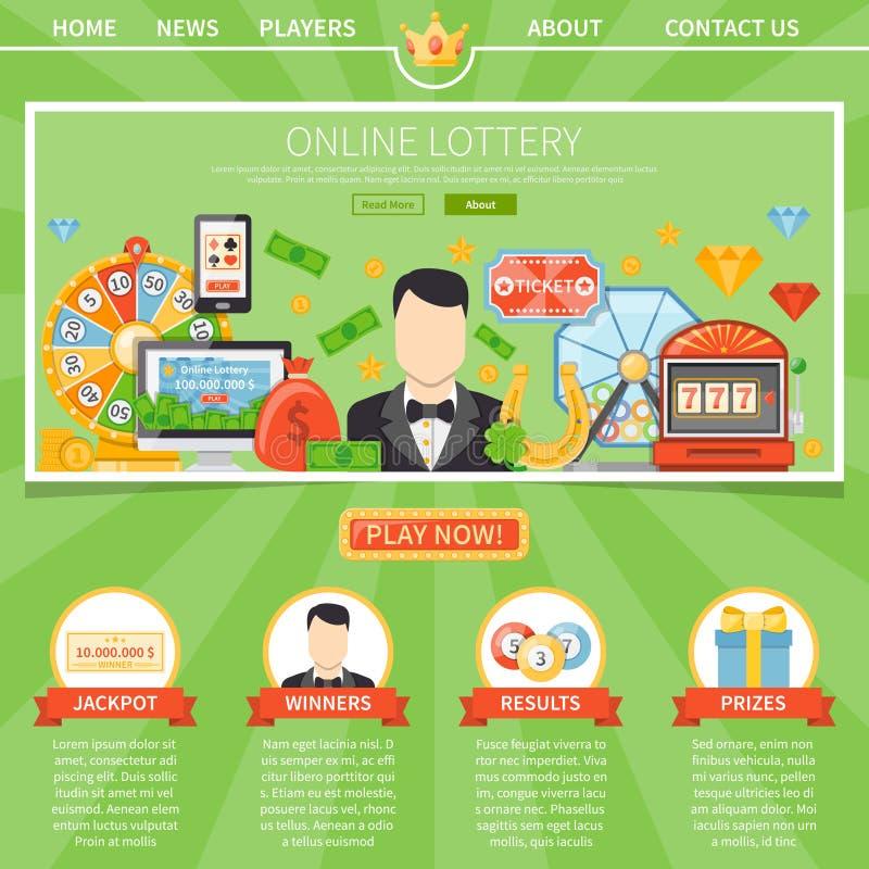 Лотерея и джэкпот один шаблон страницы бесплатная иллюстрация
