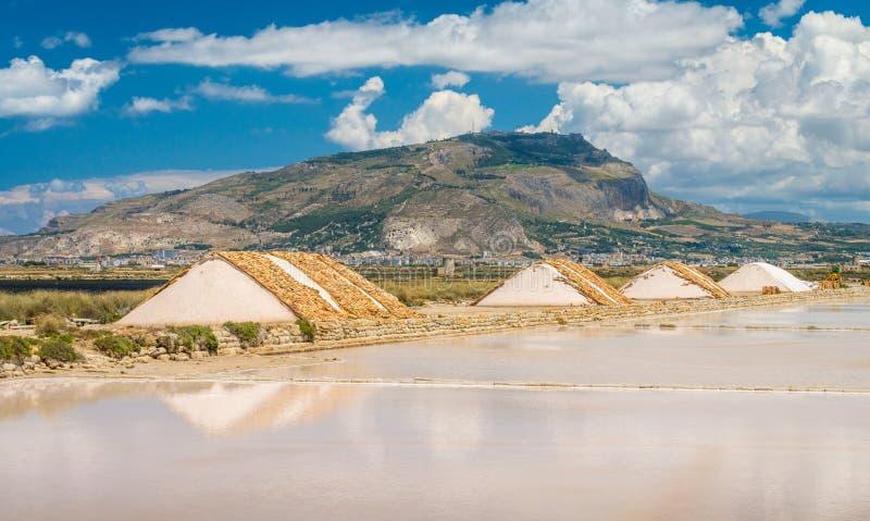 Лотки соли в солнце с горой Erice на заднем плане Квартиры соли Трапани, Сицилия, южная Италия стоковое изображение rf
