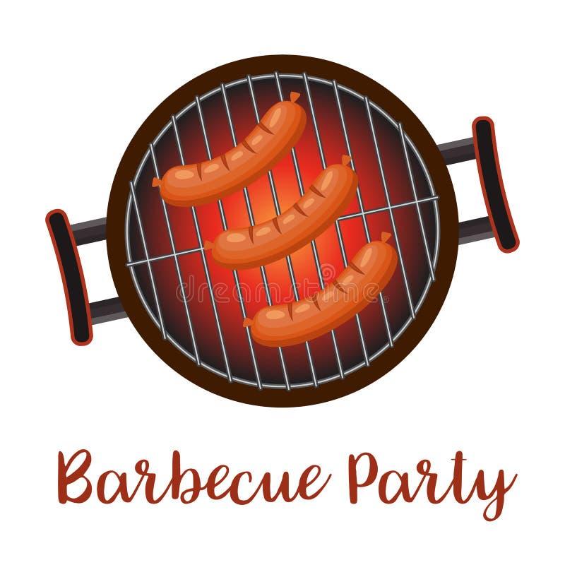 Лоток барбекю с сосисками, иллюстрация штока