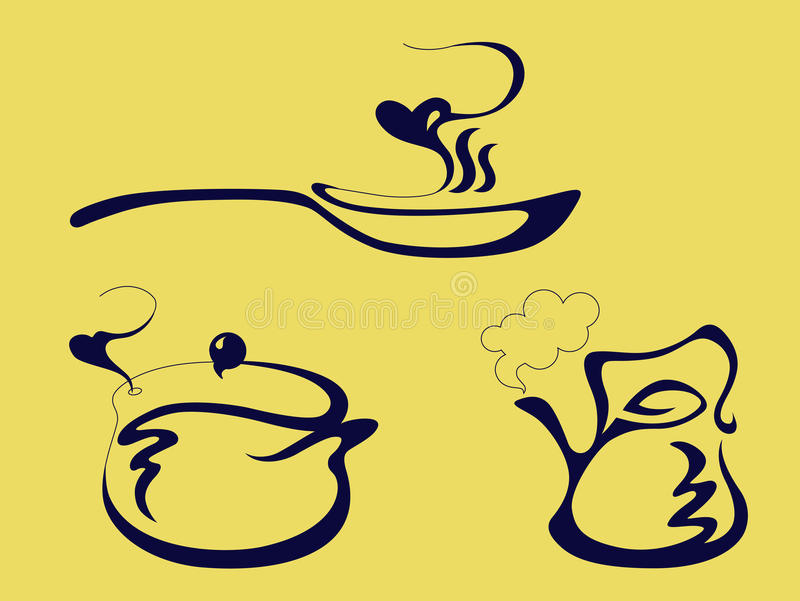 Лоток, чайник и бак иллюстрация штока