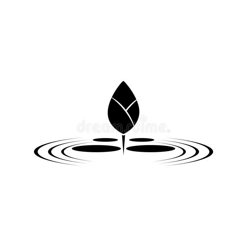 Лотос дзэна на значке или логотипе воды иллюстрация вектора