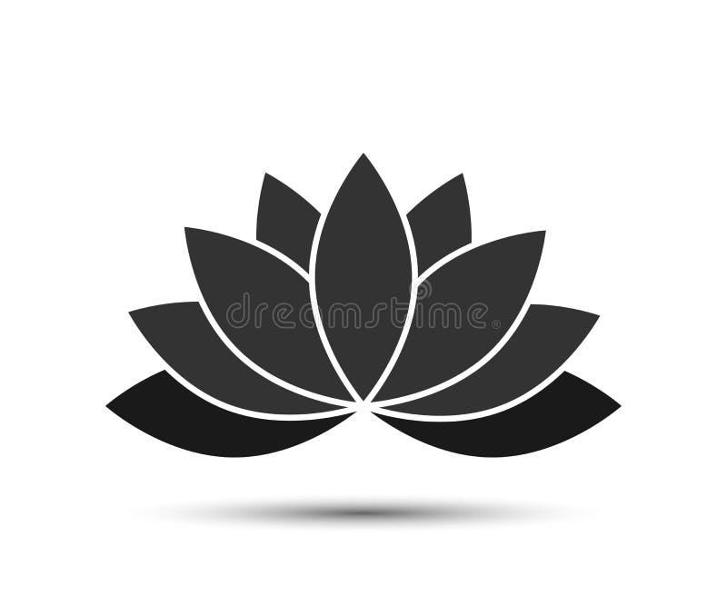 Лотос - значок вектора Цвет лотоса черный с тенью иллюстрация штока