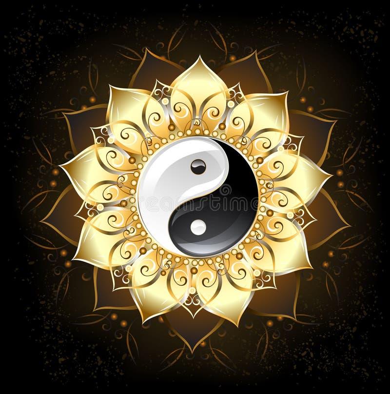 Лотос Yin yang золотой иллюстрация вектора