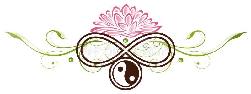 Лотос, yin yang иллюстрация вектора