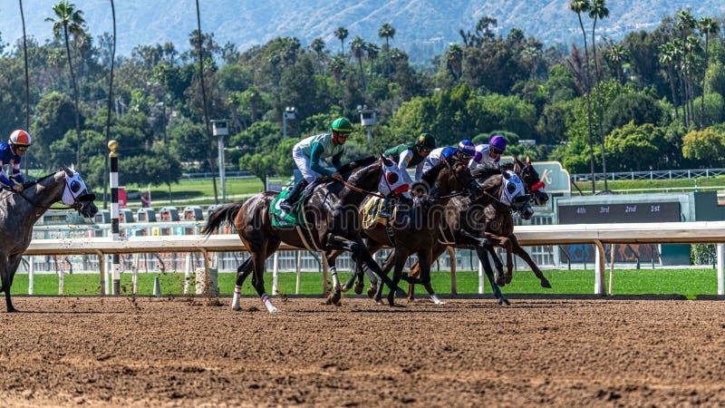 Лошадиные скачки парка Santa Anita стоковая фотография