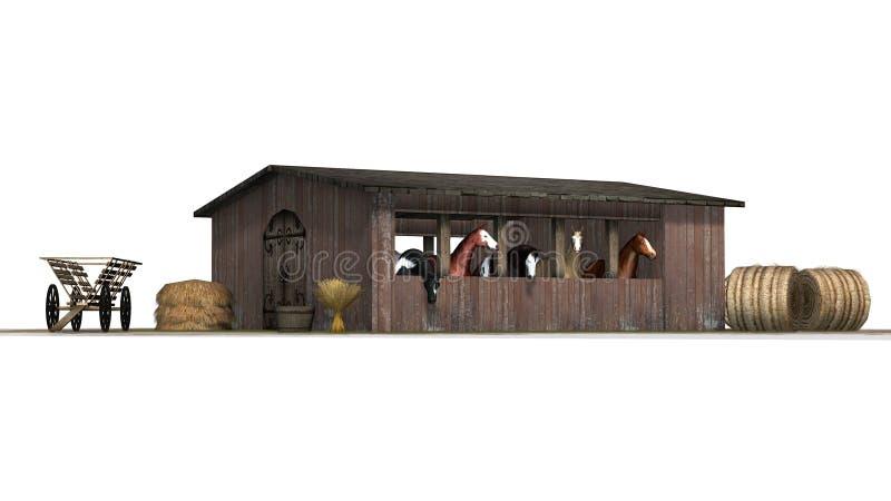 Лошади в старом деревянном амбаре бесплатная иллюстрация