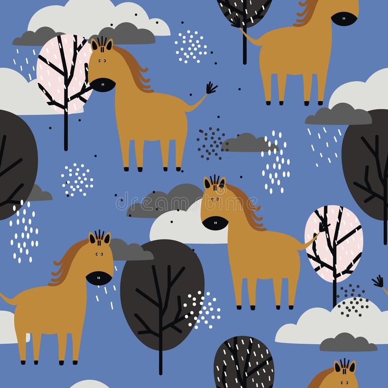 Лошади и деревья, декоративная милая предпосылка Красочная безшовная картина с животными, облаками иллюстрация вектора
