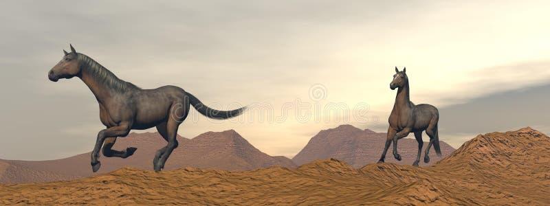 Лошади galloping в пустыне - 3D представляют бесплатная иллюстрация