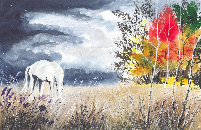 Лошадь акварели на луге бесплатная иллюстрация