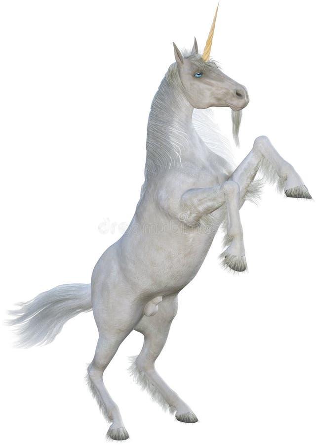 Лошадь единорога поднимая вверх по изолированный иллюстрация вектора