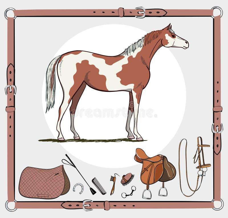Лошадь и катание лавируют инструментами в кожаном узловом шпангоуте иллюстрация вектора
