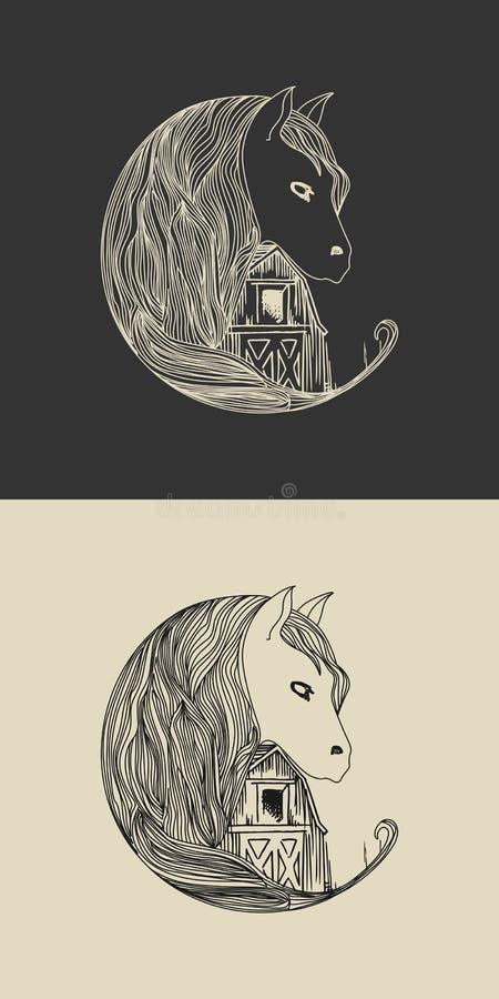Лошадь и конюшня стоковые изображения rf