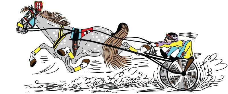 Лошадь рысака проводки мультфильма raicing иллюстрация вектора