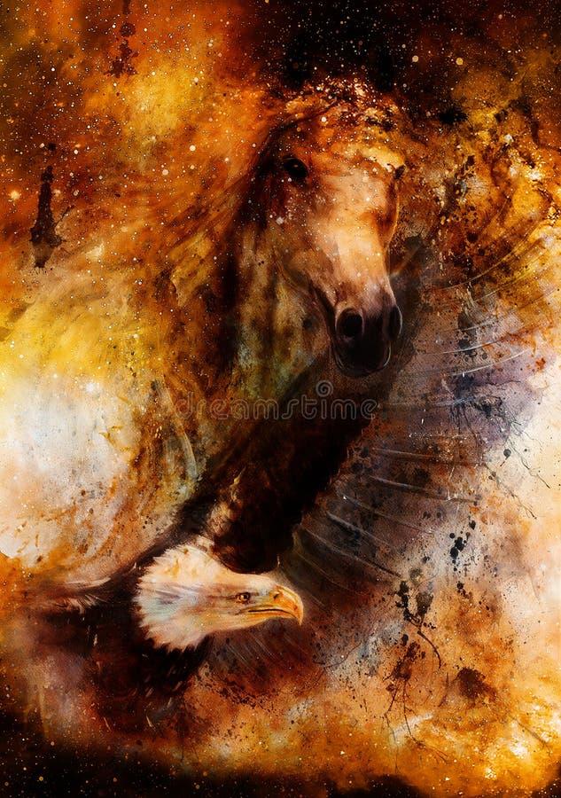 Лошадь с иллюстрацией летая красивой живописи орла в космическом космосе иллюстрация штока