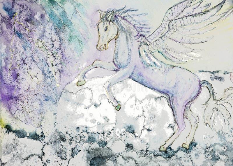 Лошадь с крылами в штормовой погоде иллюстрация вектора