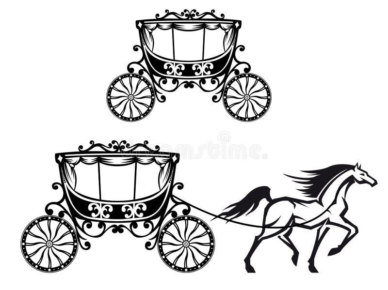 Лошадь с старым экипажом иллюстрация вектора