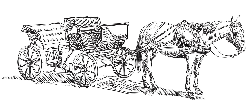 Лошадь с экипажом иллюстрация штока