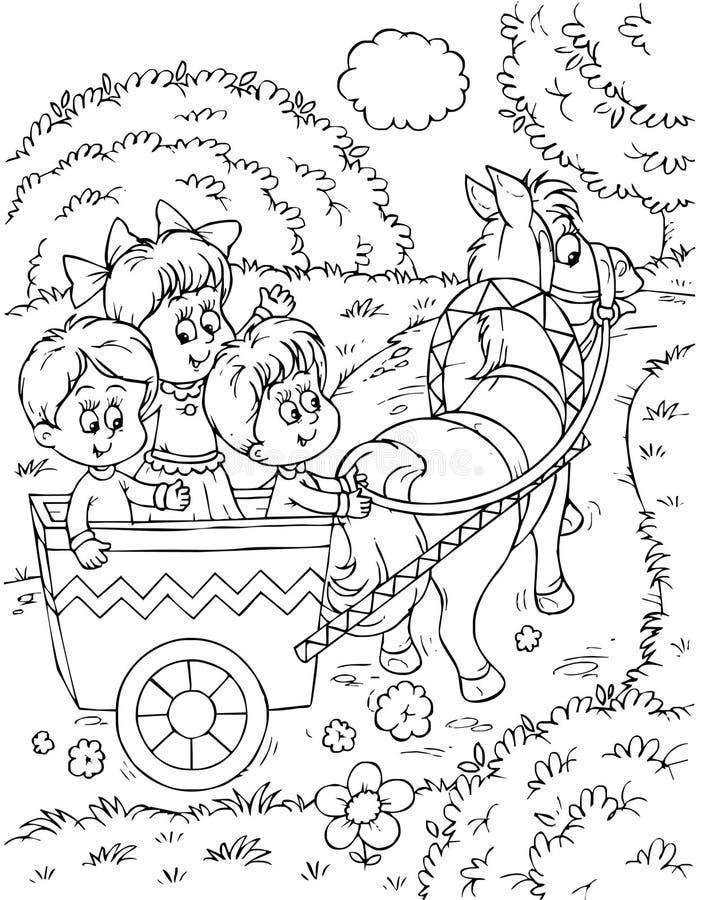 лошадь экипажа нарисованная дет бесплатная иллюстрация