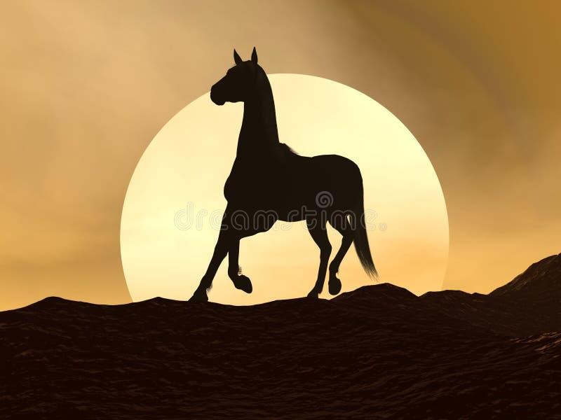 Лошадь galloping заходом солнца - 3D представляют иллюстрация штока