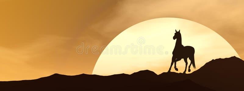 Лошадь galloping заходом солнца - 3D представляют иллюстрация вектора