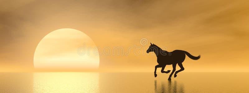 Лошадь galloping к солнцу - 3D представляют иллюстрация вектора