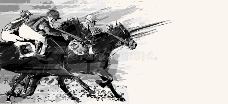 Лошадиные скачки над предпосылкой grunge иллюстрация вектора
