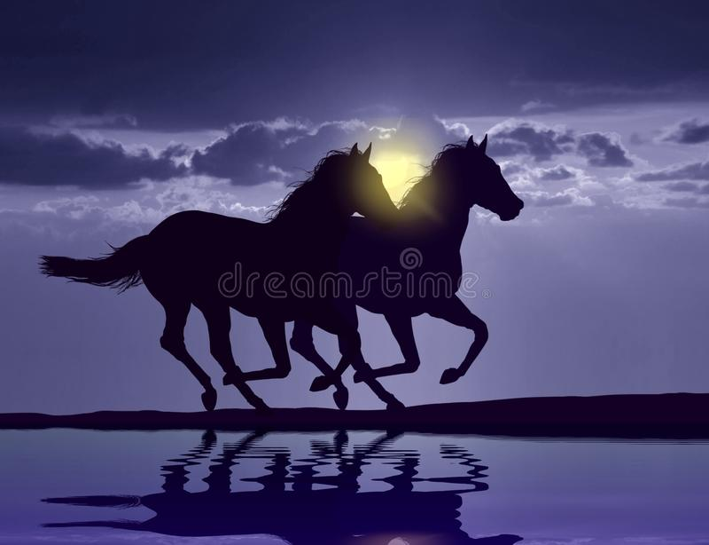 Лошади бежать на заходе солнца бесплатная иллюстрация