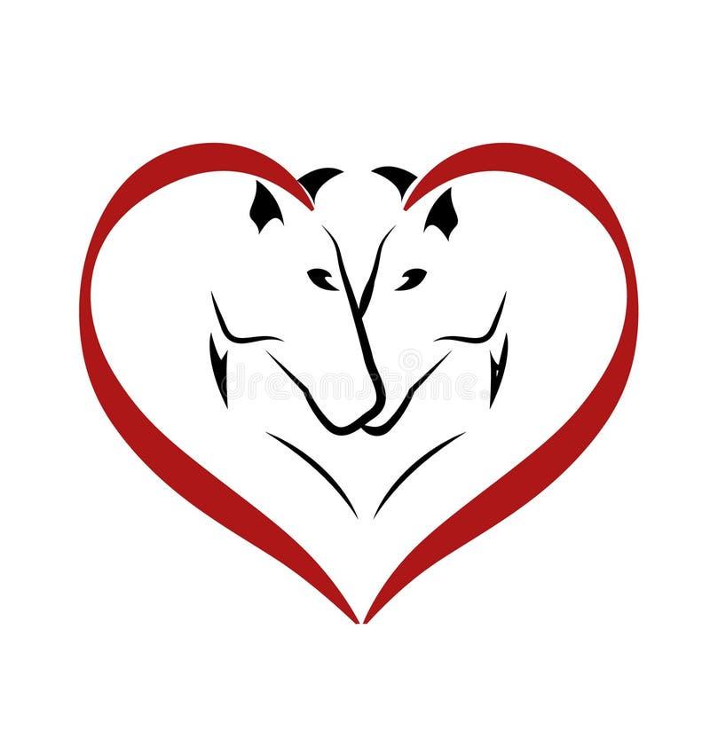Лошади в логотипе влюбленности иллюстрация вектора