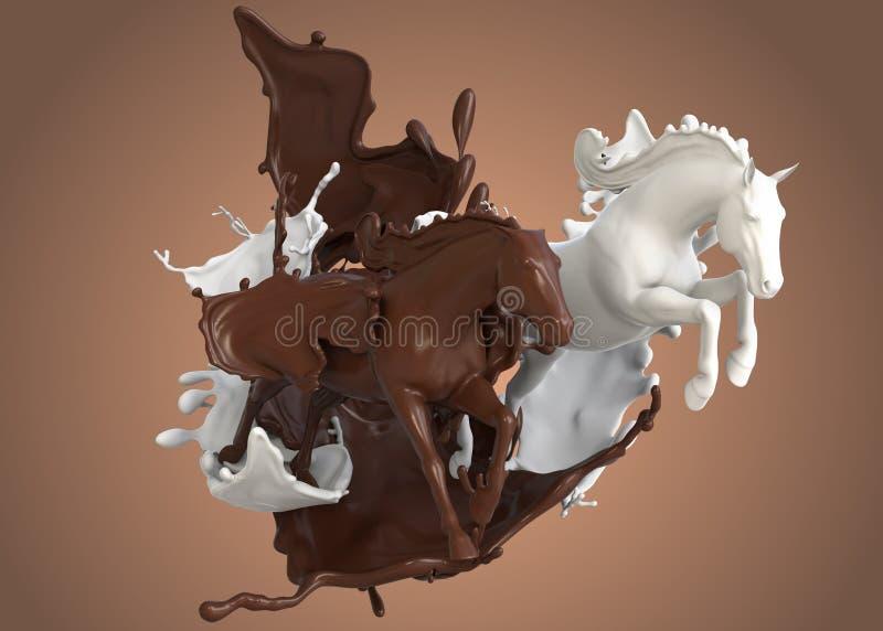 Лошади гонки в молочном шоколаде стоковые фото