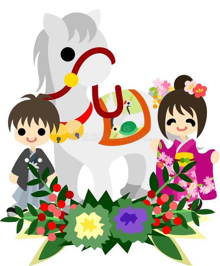 Лошади и люди ~Japanese Celebration~ иллюстрация штока