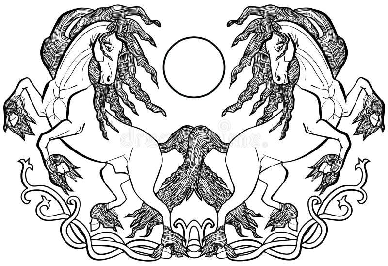 Лошади Friesian в орнаменте celtic влюбленности иллюстрация вектора